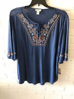 New Style & Co Woman's Embroidered Lace Up Knit Top Western Blue Plus Size L34
