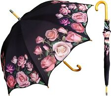 "48"" Arc Pink Rose Print Auto-Open Umbrella  - RainStoppers Rain/Sun UV Fashion"