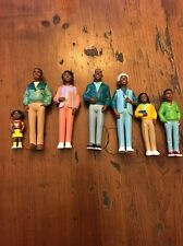 African American black family, figures, dollhouse family x 7