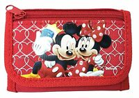 NEW DISNEY MICKEY AND MINNIE MOUSE KID TRI-FOLD WALLET RED ORIGINAL LICENSED