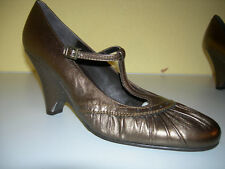 UNISA Damen Keilabsatz Schuhe Pumps Leder Bronze Spain Gr.40 Neuw