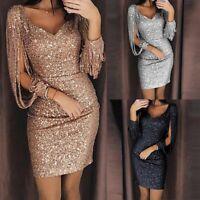 Women Sexy V neck Bodycon Dresses Slim Glitter Tassel Elegant Ladies Party Dress