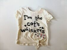 Girl's Short Sleeved T-Shirt- Cream/Black Sequins I'm The Cats Whiskers-Age3-4yr
