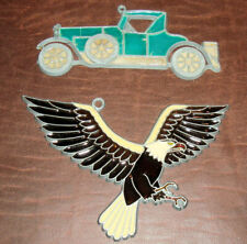 2 Vintage Suncatchers Antique Car + Bald Eagle Metal w/Colored Plastic Fill Vg