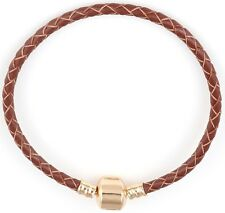 18k Gold Bracelets Bangle And Genuine Leather Womens Men DIY Floating Charm D207