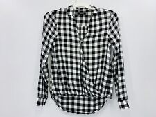 Madewell Woman's Long Sleeve blouse XS White And Black Plaid A6