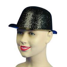 Glitter Black Plastic Bowler Hat,Fancy Dress Headwear Accessory