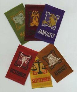 Lot (13) Early Vintage Cigarette Tobacco Silks ZODIAC CALENDAR MONTHS YEAR y8083