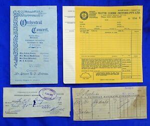 OLD BENDIGO EPHEMERA CONCERT PROGRAM, MONEY ORDER, VICTORIAN RAILWAY RECEIPT ETC