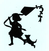 "Girl w/Kite Silhouette Die Cuts, Choose 4"" (2 die cuts) or 8"" (1 die cut)l"