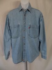 Levis Mens Size M Blue Jean Denim Shirt Metal Button Red Tab Long Sleeve Top