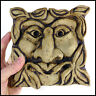 Green Man Square Gargoyle Wall Plaque by Zoo Ceramics - Original Garden Art