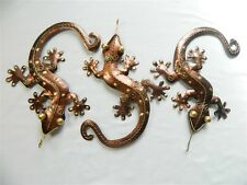 Gecko Wall Art Ornament Metal Geckos Lizard Wall Hanging - Set of 3 Bronze 29cm
