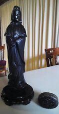 #SUNDAY MARKET#ASIAN ANTIQUE:Black Ceramic Figurine KWAN-YIN &Trinket Snuff Box