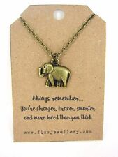 Always Remember Bronze Plated Elephant Necklace Quote Gift Message Card