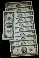 Mixed Lot ✯1976-2013✯, LUCKY NEW Uncirculated Two Dollar Bill RARE Crisp $2 Note