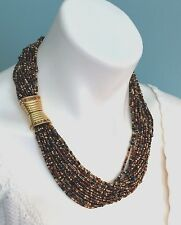 Joan Rivers Black Brown Gold Tone 20 Strand Seed Beaded Necklace Jeweled Clasp