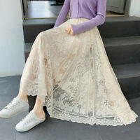 Lady Lace Floral Skirt Long Maxi Casual Summer Elastic Waist Swing White Fashion