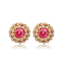 LOVELY 18K GOLD PLATED GENUINE PINK CZ & AUSTRIAN CRYSTAL ROUND STUD EARRINGS