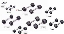 Rubber Hex Dumbbells Pair 1kg to 8 kg Home Gym Fitness Exercise workout training
