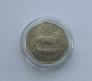 1998 Falklands Island 50p Fifty Pence Fox Coin Territory Capsuled