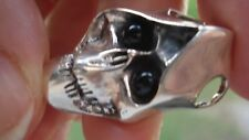 BLACK ONYX EYES SKULL  BIKER PENDANT IN STERLING SILVER  SUPER COOL & RARE