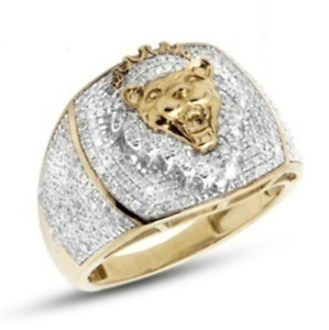 Unique 3.00ct Real Moissanite Mens Lion Face Pinky Ring in 10K Yellow Gold Fnish