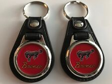 FORD BRONCO KEYCHAIN 2 PACK TRUCK LOGO RED WITH SILVER TRIM