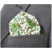 Mens Green & Cream Cotton Italian Paisley Pocket Square Hankerchielf Hanky