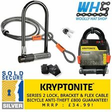 Kryptonite Series 2 Kryptolok Sold Secure Bike D U Lock + 4ft Flex Cable