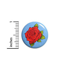 """Cool Red Blue Rose Button Pinback Backpack Jacket Pin Pretty Love Cool 1"""" #41-26"""