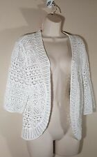 Size Large JM COLLECTION Cardigan Sweater Blouse Top White Lace Open Front