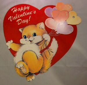 Vintage Valentines Day Paper Window Decoration 2 Sided Fuzzy Cat