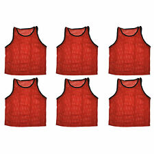 Set of 6 Scrimmage Vests Pinnies Soccer Adult Red ~ New!