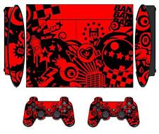 Red Passion 067 Skin Sticker PS3 PlayStation 3 Super Slim and 2 controller skins