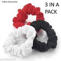 3 x Soft Black Red White No Print Hair Elastics Scrunchie Bobble Scrunchy Head