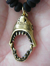 "1 SHARK Necklace Bronze Plated JAWS Charm JAWS Open & Close! Choker 16""-28"" NEW!"