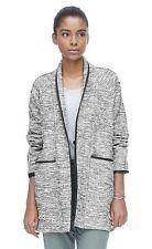 $550 REBECCA TAYLOR Black White Tweed Faux Leather Trim Jacket Coat - Sz 4