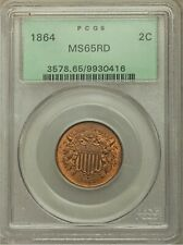 1864 2C Large Motto MS65RD Red PCGS in A GREEN HOLDER.