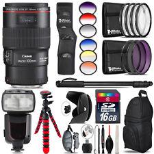 Canon EF 100mm 2.8L IS USM Lens + Pro Flash + Filter Kit - 16GB Accessory Kit