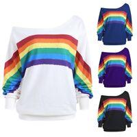 Women Casual Loose Long Sleeve Rainbow Print Pullover Blouse Shirts Sweatshirt e
