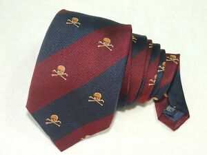 "J. Press MEN'S TIE RED & BLUE/SKULL PATTERN W: 3.5"" L: 60"""