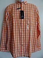 Tommy Hilfiger Mens Orange White Long Sleeve Cotton Classic Fit Shirt Size M