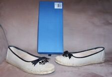 CUTE COMFY Women's Natural & Black Canvas Vera Wang Flats Loafers Shoes 9.5