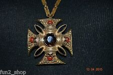 "Gorgeous Signed 30"" Florenza Maltese Topaz Jet Black Red Pendant Necklc,Ornate"