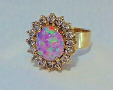 2.02 Ct. Pink Oval Cabochon Opal Diamond Ring 10k Yellow Gold