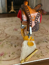 Vintage Miniature Dollhouse 1:12 OOAK Decorative Leather Horse Saddle Western