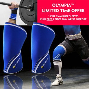 Knee Sleeves PAIR Patella Brace Wrist Wrap Support Sbd Gym Weight Lifting Royal