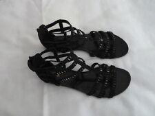 Women's Diba Gladiator Sandles Black Flats Zippered Back Size 8.5 Medium $38.00