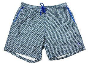 Mister Mr Swim Mens XL Blue Geo Print Drawstring Waist Lined Swim Trunks